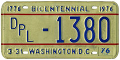 1975 (exp. 3-31-76) Diplomatic plate no. 1380
