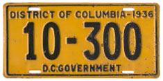 1936 D.C. Government-Owned Vehicle plate no. 10-300