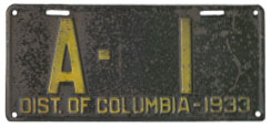 1933 Government-Owned Vehicle plate no. A-1