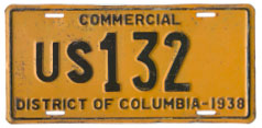1938 U.S. Government-Owned Truck plate no. US 132