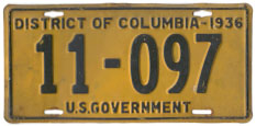 1936 U.S. Government-Owned Vehicle plate no. 11-097