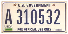 U.S. Dept. of Agriculture plate no. A 310532, with a light blue image of a waving U.S. flag across the background