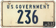 1952 (exp. 1953) U.S. Government plate no. 236