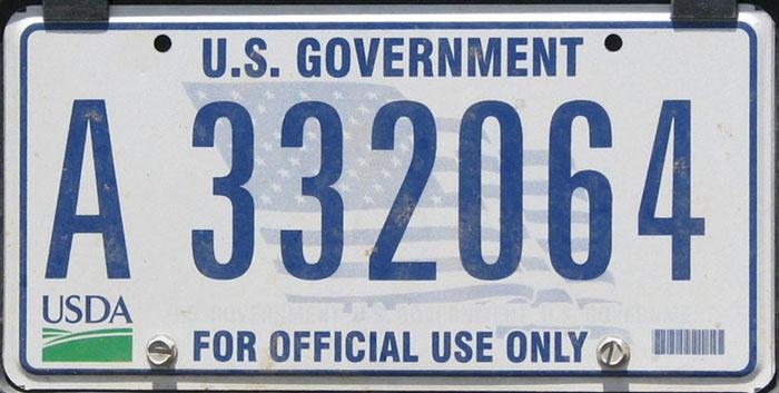 U S  Government License Plates