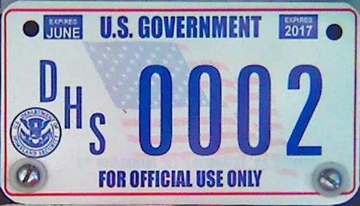 U S  Government License Plates