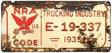 1935 National Recovery Act Trucking Industry permit no. E-19-337