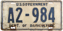pre-1942 U.S. Dept. of Agriculture plate no. A2-984
