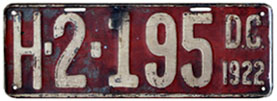 1922 Hire plate no. H-2-195