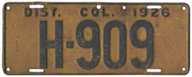 1926 Hire plate no. H-909