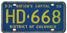 1957 Hire (Taxi) plate no. HD-668