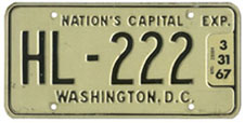 1965 (exp. 3-31-66) Hire plate no. HL-222 validated for 1966 (exp. 3-31-67)