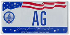 2005 Inaugural personalized plate no. AG