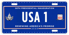 2009 Inaugural plate no. USA 1; click on image to see larger version