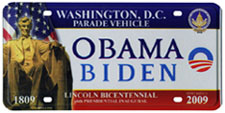 2009 Inaugural Parade Vehicle plate: click to enlarge