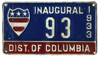 1933 Presidential Inaugural plate no. 93
