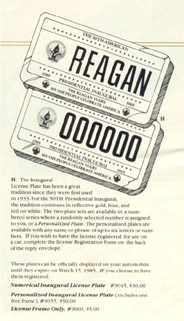 1985 Inaugural plate ordering information from a souvenir promotional brochure