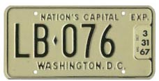 1965 (undated, exp. 3-31-66) Livery plate no. LB-076 validated for 1966 (exp. 3-31-67)