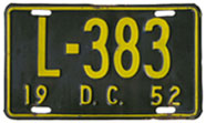1952 Livery plate no. L-383
