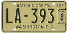 1965 (undated, exp. 3-31-66) Livery plate no. LA-393 validated for 1968 (exp. 3-31-69)