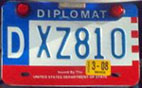 1984 base OFM Diplomatic motorcycle license plate no. DXZ810 (assigned to the embassy of Australia)