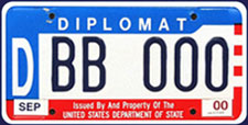 1984 base OFM Diplomatic sample license plate no. DBB 000