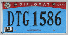 2007 base OFM Diplomat license plate no. DTG 1586