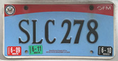 2007 base OFM Diplomatic Staff license plate no. SLC 278