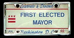 Celebrate & Discover plate marked FIRST ELECTED MAYOR