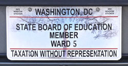 Plate issued to the DC State Board of Education member elected from Ward 5.