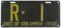 1931 Rental plate no. R-1