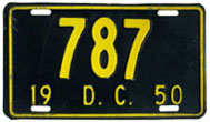 1950 Reserved Passenger plate no. 787