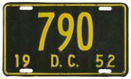 1952 Reserved Passenger plate no. 790