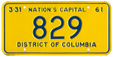 1960 Reserved plate no. 829