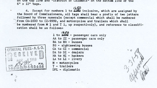 March 2,1959, memo in which the increase to 1,250 reserved-number registrations is noted