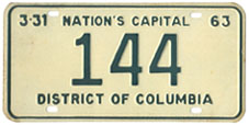 1962 Reserved Passenger plate no. 144