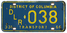 1965 (exp. 3-31-66) Transport plate no. 038