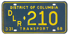 1967 (exp. 3-31-68) Transport plate no. 210