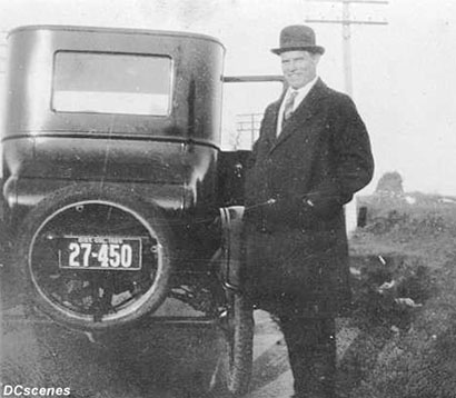 The identity of this gentleman and site of the photo is unknown, but the license plate is a 1925 D.C. issue.