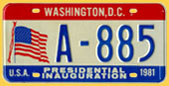 1981 Presidential Inauguration plate no. A-885