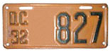 1932 Motorcycle plate no. 827
