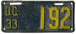 1933 motorcycle plate no. 192