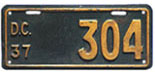 1937 motorcycle plate no. 304