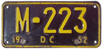 1952 Motorcycle plate no. M-223
