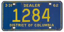 1961 (exp. 3-31-62) Dealer plate no. 1284