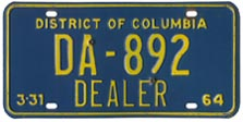 1963 (exp. 3-31-64) Dealer plate no. DB-892
