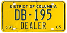 1964 (exp. 3-31-65) Dealer plate no. DB-195