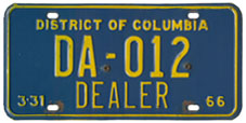 1965 (exp. 3-31-66) Dealer plate no. DA-012