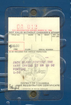 1965 Dealer registration certificate for plate no. DA-012 pictured above