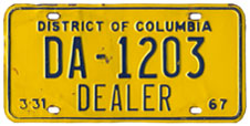 1966 (exp. 3-31-67) Dealer plate no. DA-1203