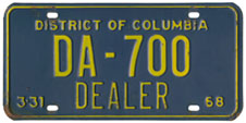 1967 (exp. 3-31-68) Dealer plate no. DA-700